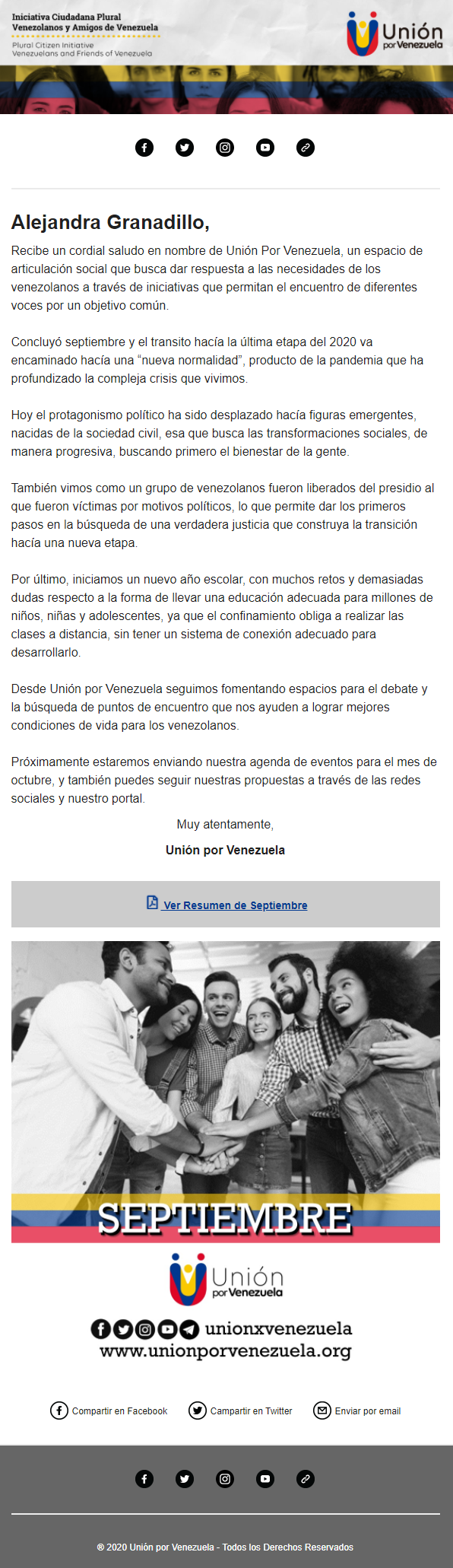 Union for Venezuela e-newsletter