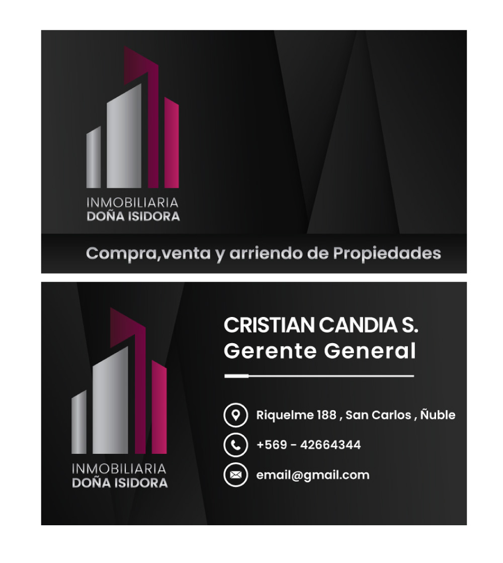 Business cards for Inmobiliaria Doña Isidora