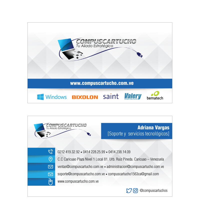 Business cards for Compuscartucho