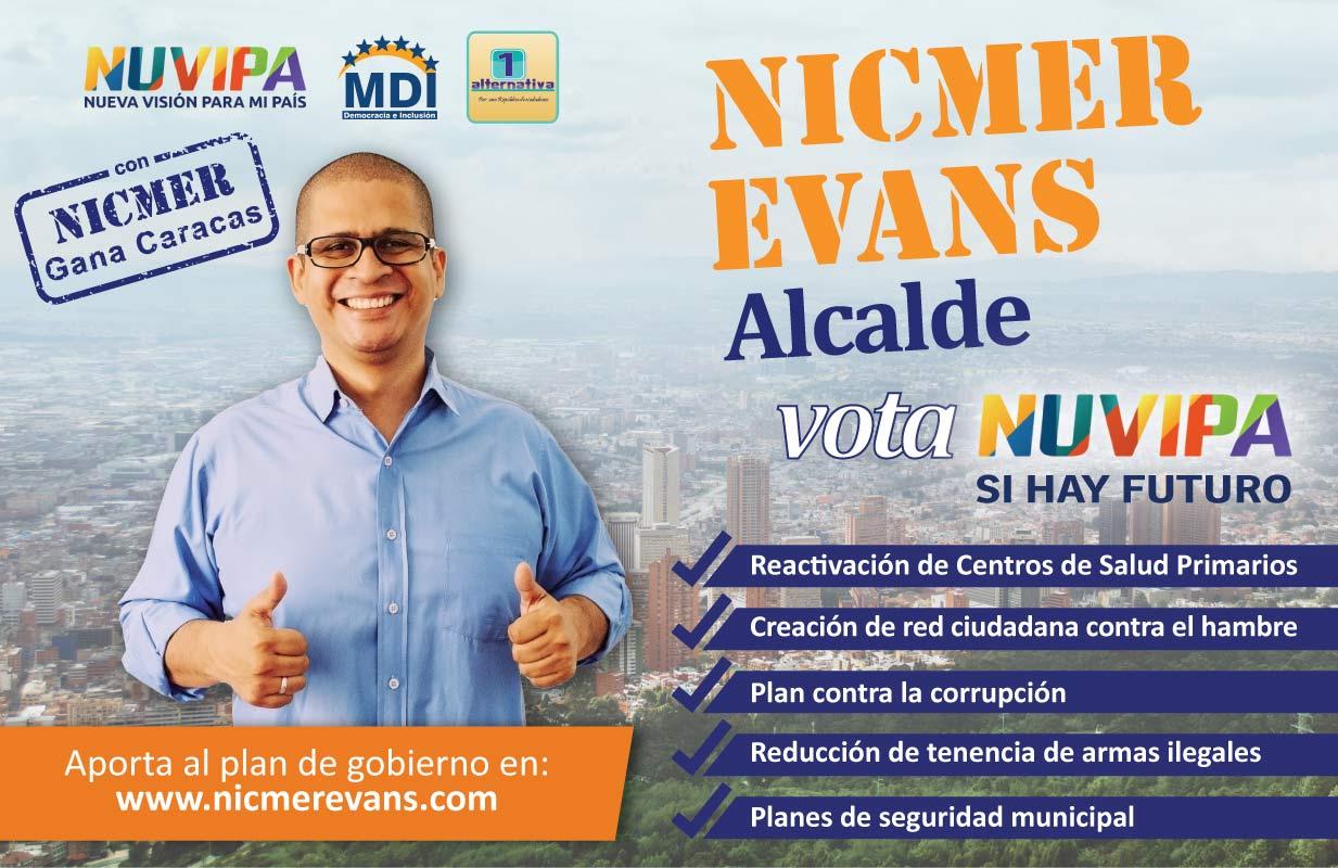 Volante para campaña de Nicmer Evans